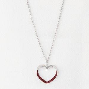 """""""Bighearted"""" - Red Rhinestone Heart Necklace Set"""